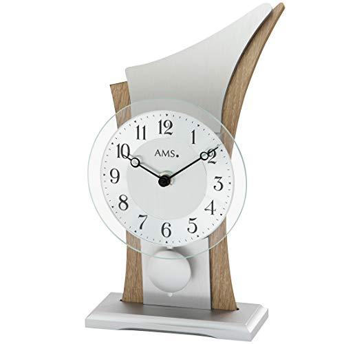 AMS - Quarzuhr -Tischuhr mit Pendel - Pendeluhr - Holzgehäuse - Sonoma-Optik - Aluminium-Zifferblatt