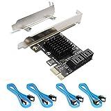 Ziyituod Tarjeta SATA, SATA III 4 Puertos Adaptador Tarjeta con 4 Cable SATA, 6 Gbps SATA Controlador PCIe Tarjeta con Soporte de Perfil bajo, Compatible con 4 Dispositivos SATA 3.0, Non Raid(SA3014)