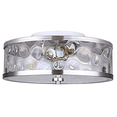 Flush Mount 3 Light Ceiling Fixture Watermark Glass Drum or 3 Light Bar Fixture Clear Watermark Glass Globes