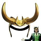 Loki Crown with Horns Helmet, Supervillain Loki Costume Mask Cosplay Halloween Masquerade Party Prop