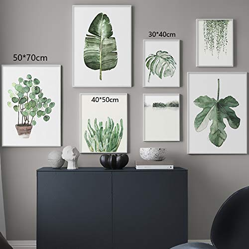 WIOIW Modern Watercolor Simple Green Potted Plants Leaves palm tree Wall Art Canvas Painting Nordic Poster Living room Bedroom Office Studio Home Decoration