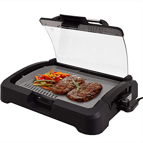 Syntrox Germany TG-2200W elektrischer Tischgrill mit Keramik Grillplatte Elektrogrill BBQ Grill Barbecue mit Glasdeckel