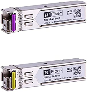 1 Pair Generic Compatible 1000BASE-BX BiDi SFP 1310nm-TX//1490nm-RX and 1490nm-TX//1310nm-RX 20km Singlemode Fiber Simplex LC DOM Transceiver