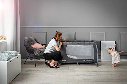 Hauck Play'n Relax Center Reisebett, 7-teiliges, ab Geburt bis 15 kg, faltbar und kippsicher, mit Neugeborenen Einhang, Wickelauflage, seitlicher Ausstieg, Netztasche, Räder, Transporttasche, grau - 28