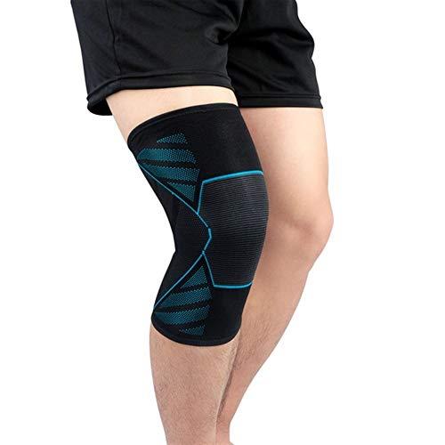 1PCS Sport Fitness Laufen Kniestütze Protect 3D Weaving Knee Sleeves Feder Silikon Padded Schutz Kompressionspads (Color : Blue, Size : M)