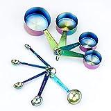 9 Piece Rainbow Iridescent Stainless Steel Measuring Cups Spoons, Oil Slick Rainbow, Kitchen Utensils Measuring Tools, Measuring Cup Set Measuring Spoon Set
