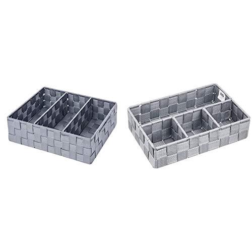WENKO Organiseur de salle de bains Adria avec poignée gris - Organiseur de bain, Polypropylène, 32 x 10 x 21 cm, Gris & Organiseur de salle de bains Adria petit gris - 26 x 6.5 x 17 cm, Gris