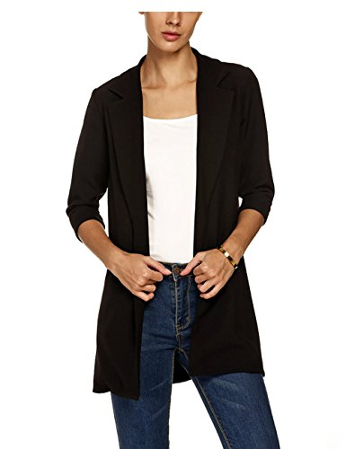 Zeagoo Women Lapel Casual Long Casual Blazer Outwear Open Front Cardigan Coat Black