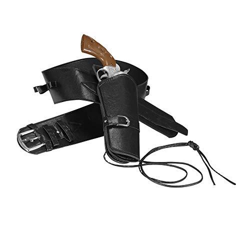 Widmann 01050 – Westernpistolenhalter mit Gürtel, schwarz, Cowboygürtel, Holster, Motto Party, Karneval