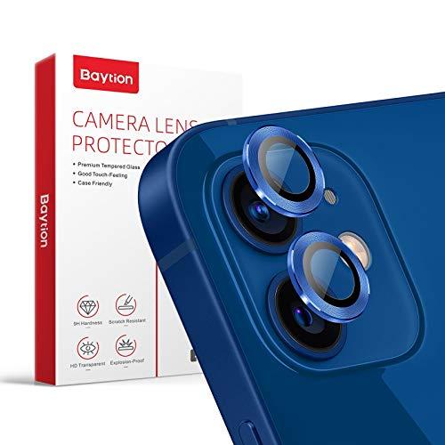 [2 Pcs]Protector Camara iPhone 12/12 Mini, Baytion Protector de Lente de Aleación de Aluminio de 360 Grados [Resistencia al Rayado] [Color Original] - Azul