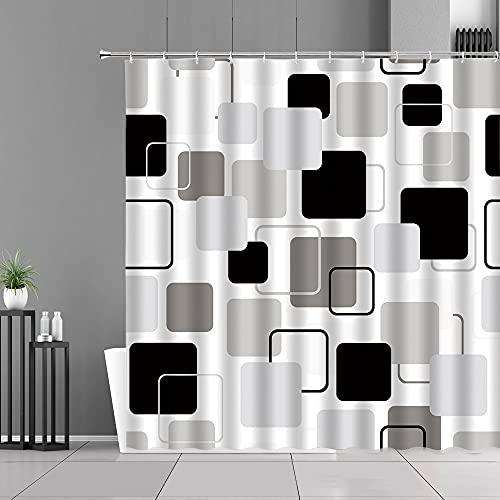 XCBN Cortina de Ducha con patrón de Cuadros de estereograma, diseño geométrico Blanco y Negro, Pantalla de decoración de baño Moderna para el hogar A10 90x180cm