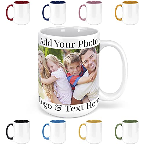 Custom Photo Coffee Mugs, 15 oz. Personalized Mugs w/ Picture, Text, Name - Personalized Gifts for V...
