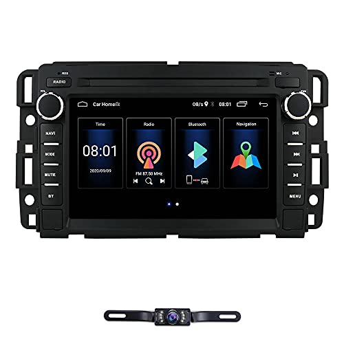 Android 10 Car Stereo DVD Player for GMC Chevy Silverado 1500 2012 GMC Sierra 2011 2010 7 inch Quad Core Double Din in Dash Touchscreen FM/AM Radio Receiver Navigation Bluetooth with Backup Camera