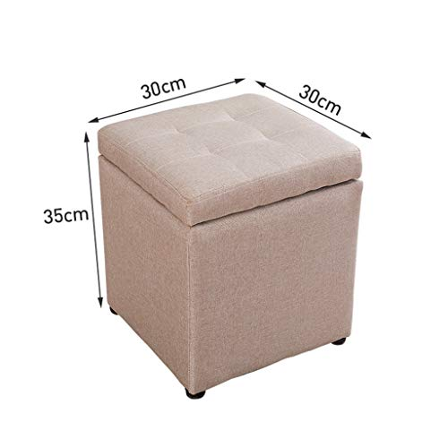 CHQYY Sillas- Taburete del pie de cubo cajas de almacenaje Salón Silla Taburetes Taburete, patas de madera for sala de estar de la vendimia dormitorio tocador Seat de heces (Color : Beige)