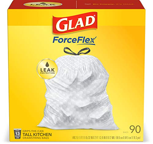 Glad ForceFlex Tall Kitchen Drawstring Trash Bags – 13 Gallon White Trash Bag, Unscented – 90 Count (Package May Vary)