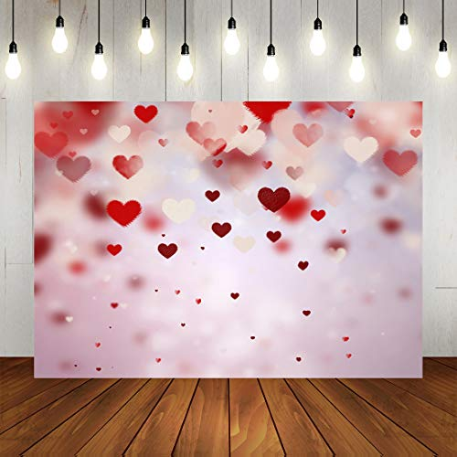 Valentine's Day Backdrop Romantic Pink Bokeh Heart Photography Background Mother's Day Birthday...