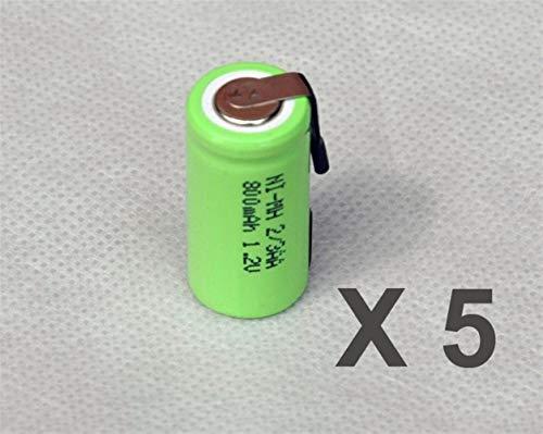 QianHaoQJu XW-Battery, 5pcs 1.2V 2 / 3AA Zahnbürste Akku 800mAh 2/3 AA NiMH NiMH-Zelle mit Tab Stifte for elektrische Rasierer