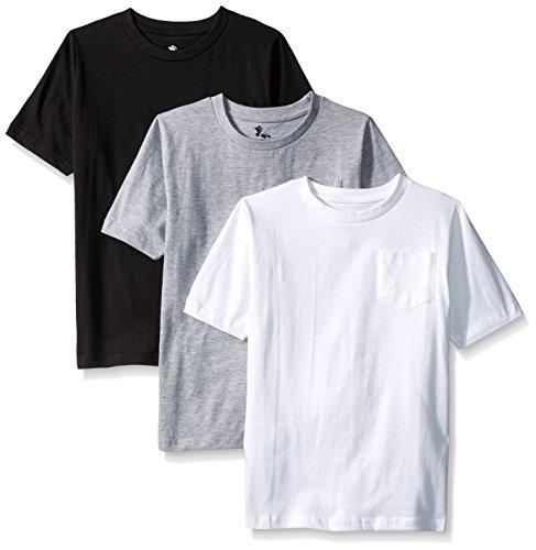American Hawk Big Boys 3 Piece Pack Crew Neck Pocket T-Shirt, White/Black/Heather Grey, 10/12
