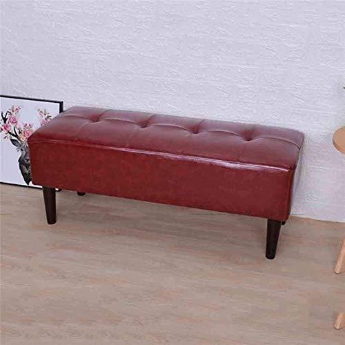 Tapizada Puf, Rectangular PU de Cuero sólidas Patas de Madera Sofá de heces de 120 cm × 40 cm × 40 cm (L x W x H) 119 115 (Color : 1, Size : 120cm)