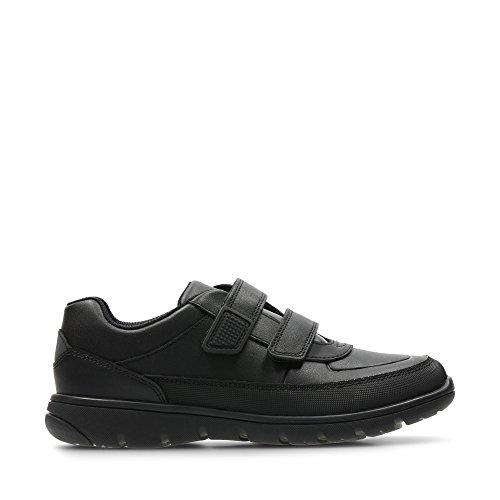 Clarks Venture Walk, Chaussure de Robe d'uniforme garçon, Cuir Noir, 31 EU