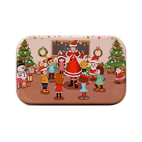 Iusun Xmas Pattern Puzzle Wooden DIY Small Gifts Children Hand Made Santa Puzzle Jigsaw Puzzle (D)