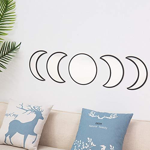 Q&K 5 Piezas de Espejo de Fase Lunar de acrílico Natural, Utilizado para la decoración del hogar, Utilizado para la decoración de la Pared del Dormitorio del hogar (Cinco Piezas Negro)