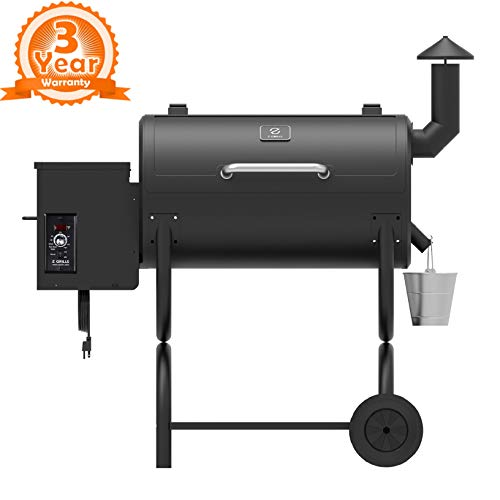 Z GRILLS ZPG-550B 2020 Upgrade Wood Grill & Smoker 6 in 1 BBQ Pellet Grill Auto Temperature Control, Large, Black