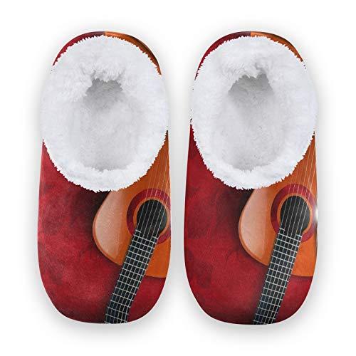TropicalLife FELIZM Hausschuhe Vintage Gitarre Klavier Keyboard Home Schuhe Warm Anti-Rutsch Fuzzy Füße Hausschuhe Indoor Outdoor Hausschuhe für Herren Damen, - mehrfarbig - Größe: Large