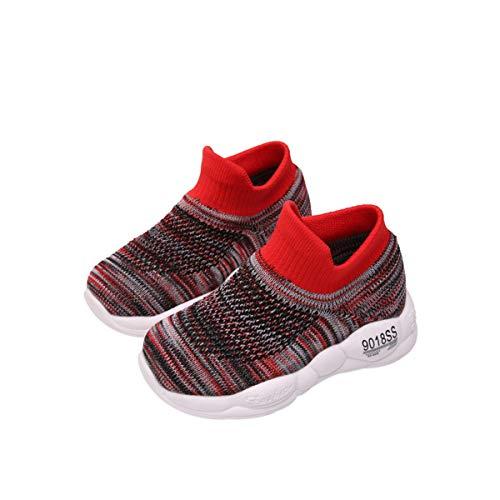 DEBAIJIA Zapatos para Niños 1-5T Bebés Caminata Zapatillas Suela Suave Malla Antideslizante TPR Material Ligero 27/28 EU Rojo (Tamaño Etiqueta 27)