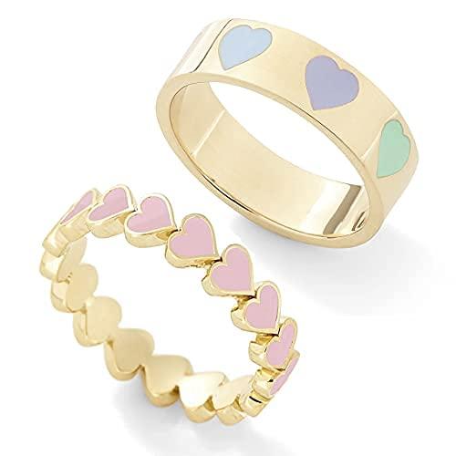Colorido juego de anillos en forma de corazón para mujeres y niñas, parejas, lindo corazón del corazón, anillos de oro, anillos esmaltados, anillos de dedo para boda, cumpleaños