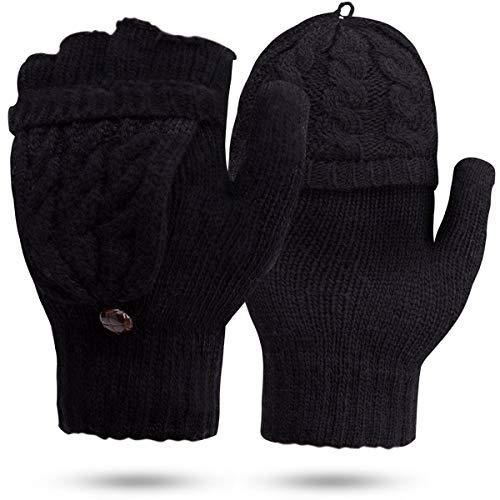 JORYEE Damen Fingerlos Handschuhe- Winter Handschuhe Fingerlose Fäustlinge Halb Fingerhandschuhe Wolle Strick Handschuhe für Damen (Schwarz)