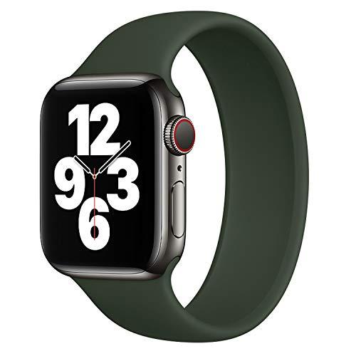 DYKL - Cinturino di ricambio per orologio IWO compatibile con Apple Watch Strap 40 mm 38 mm, cinturino elastico in silicone morbido, compatibile con iWatch Series 6 5 4 3 2 1 SE (42 mm-44 mm/M, verde)