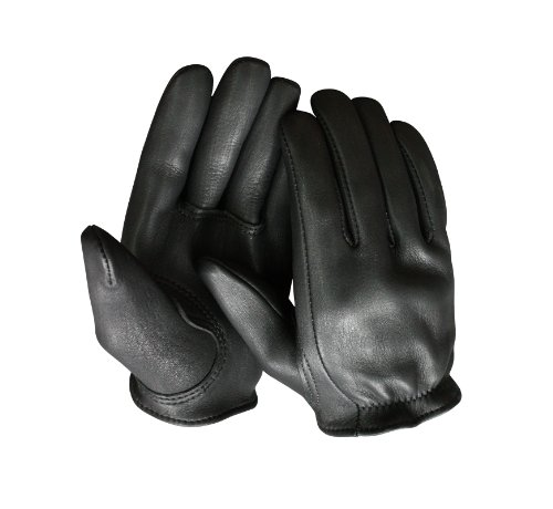 Churchill Classic Short Wrist Deerskin Motorcycle Gloves Made in America Black (Medium)