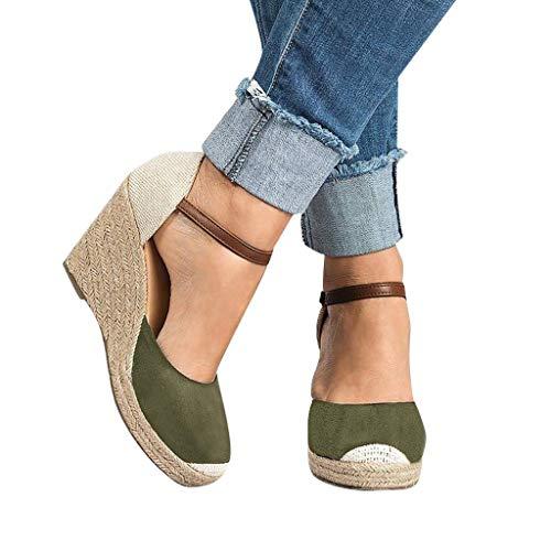 Sandalias Mujer VeranoFannyfuny Zapatos de Plataforma Plana Polaca sin Peep Toe Sandalias de Cerrojo Moda Cuñas Hasp Sandalias Zapatos Plataforma 35-43 High 8cm