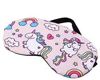 AK.SSI Cartoon Einhorn Schatten Schlaf Augenmaske für Kinder Erwachsene Party Travel 1 stücke (Hell-Pink)