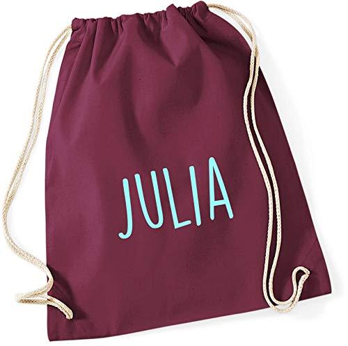 personalisierter Turnbeutel mit Namensdruck zum Zuziehen | Bedruckt mit Namen für Jungen & Mädchen | Zuziehbeutel Stoffbeutel in vielen Farben (Burgund)
