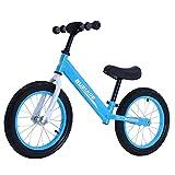 Bueuwe Bicicleta De Equilibrio para 3 4 5 6 7 Años, Bicicletas Sin Pedales para Niños Pequeños con Manillar/Asiento Ajustable Y Marco De Aleación De Magnesio,Azul,14 Inch