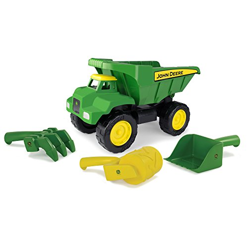 "TOMY John Deere 15"" Big Scoop Dump Truck Sandbox Toy with Sand Tools"