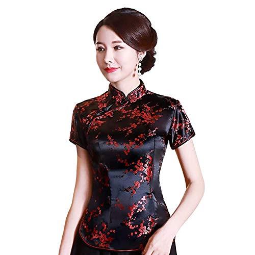 Ansemen Chinesischer Tang Anzug Traditionelle Cheongsam Tops Vintage Style Brokat Qipao Blumendruck Shirt Für Damen