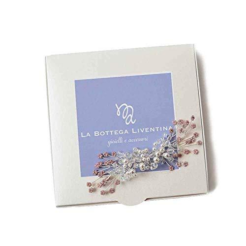 La Bottega Liventina haaraccessoires bruid met bloemen glas wit Swarovski