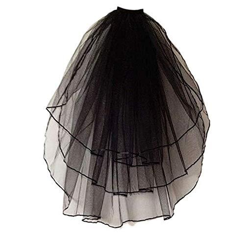 Meibida Velo de tres capas negro Juego de vestir de Halloween velo corto velo de novia