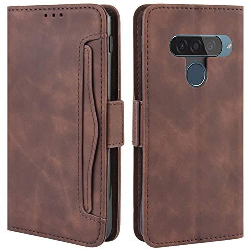 HualuBro Handyhülle für LG G8S ThinQ Hülle Leder, Flip Hülle Cover Stoßfest Klapphülle Handytasche Schutzhülle für LG G8S ThinQ Tasche (Braun)