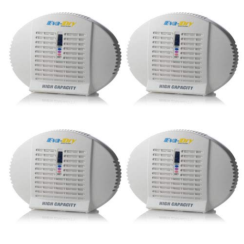Eva-dry E-500 High Capacity Renewable Wireless Mini Dehumidifier - 4 Pack - Fight dampness in boats, safes, RVs and BIG close