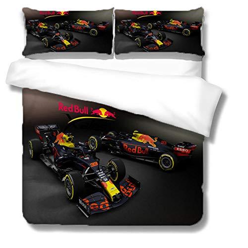 Dekbedovertrek Single Size F1 Racing Zwart Gedrukt Polyester Beddengoed Set met Ritssluiting Quilt Cover Set+2…