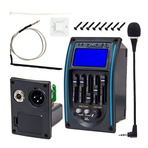 Almencla 5 Band EQ - Preamp Equalizer Piezo Pickup Tonabnehmer, Akustische Gitarre Vorverstärker mit LCD Tuner