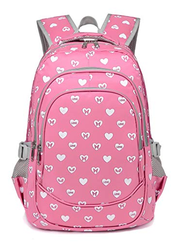 BLUEFAIRY Hearts Print Middle School Backpack for Girls