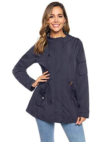Abollria Damen Regenjacke Wasserdicht Atmungsaktiv Regenmantel mit Futter Leichte Luftige Midi Jacke mit Kapuze für Herbst,Navyblau,XL