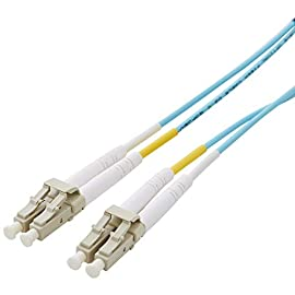 AmazonBasics 10Gb 40Gb Multimode OM3 Duplex 50/125 OFNP Fiber Patch Cable LC to LC 2 Durable LC to LC fiber optic patch cable for SAN and data networks Connects to VCSEL laser network equipment such as SFP+ transceivers, Ethernet switches, media converters and more Minimum bend radius of 10mm (static) helps prevent degradation of cable when installed in small spaces