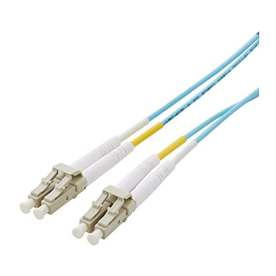 Amazon Basics 10Gb 40Gb Multimode OM3 Duplex 50/125 OFNP Fiber Patch Cable LC to LC 1 Durable LC to LC fiber optic patch cable for SAN and data networks Connects to VCSEL laser network equipment such as SFP+ transceivers, Ethernet switches, media converters and more Minimum bend radius of 10mm (static) helps prevent degradation of cable when installed in small spaces