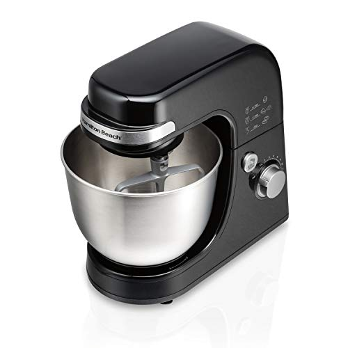 Hamilton Beach Electric Stand Mixer, 4 Quart Stainless Bowl, 7 Speeds, Tilt-Head, Dough Hook, Whisk and Flat Beater, Splash Guard, 300 Watts, Black (63390)